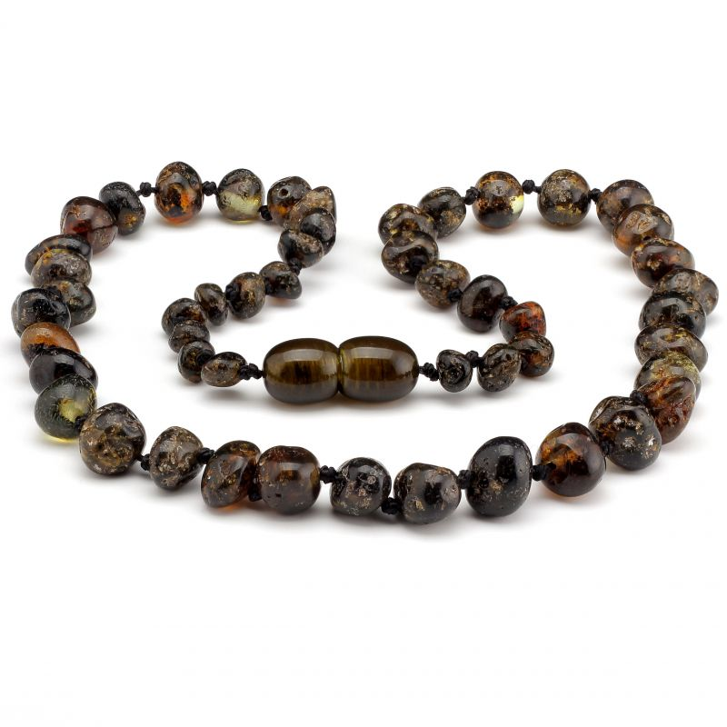"12"" Green Polished Baltic Amber Necklace"