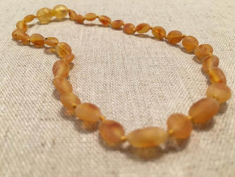 """19"""" Honey Raw Baltic Amber Necklace"""