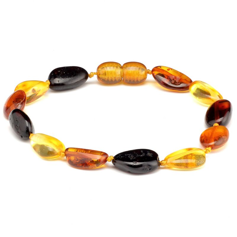 Adult Multi Polished Baltic Amber Bracelet
